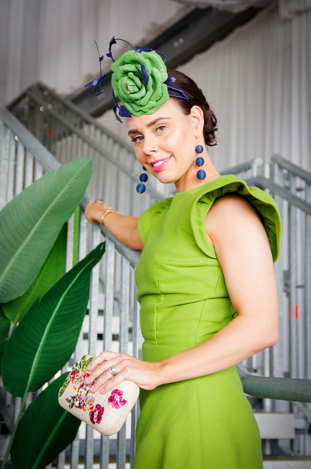 Meisha Warren wearing Only One Ashley dress, Olga Berg Clutch and Hats about Town Millinery