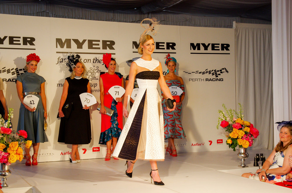 Andrea Buchanan was pure class in Alex Perry and WA's very own Maker Millery made her elegant millinery