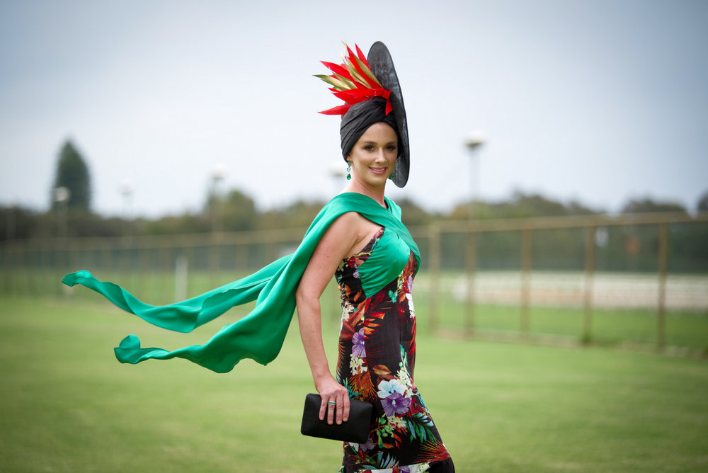 Best Dressed Accessories Owner Bethany Brajkovich in her own design sewn by Fyne Fit,Millinery by Holly Barker Millinery, clutch Olga Berg and hand made earrings by Stuart of The Glitter Co Subiaco.