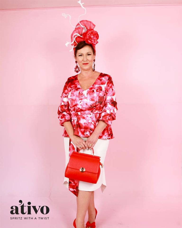 Dee Price look absolutely stunning in red, pink and white with our vintage red top handle bag