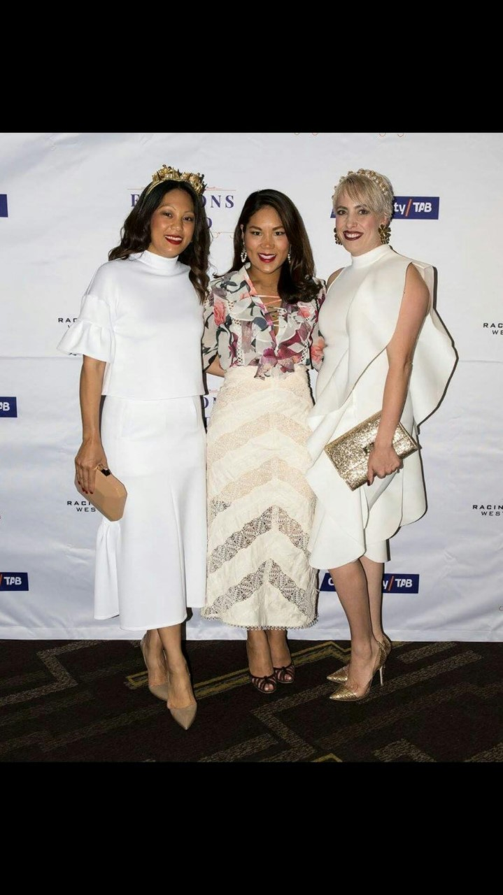 Ashleigh Ridgeway looking gorgeous in our white ruffle dress (Right) (Lady on left is wearing Perth Designer Only One Ashleigh)