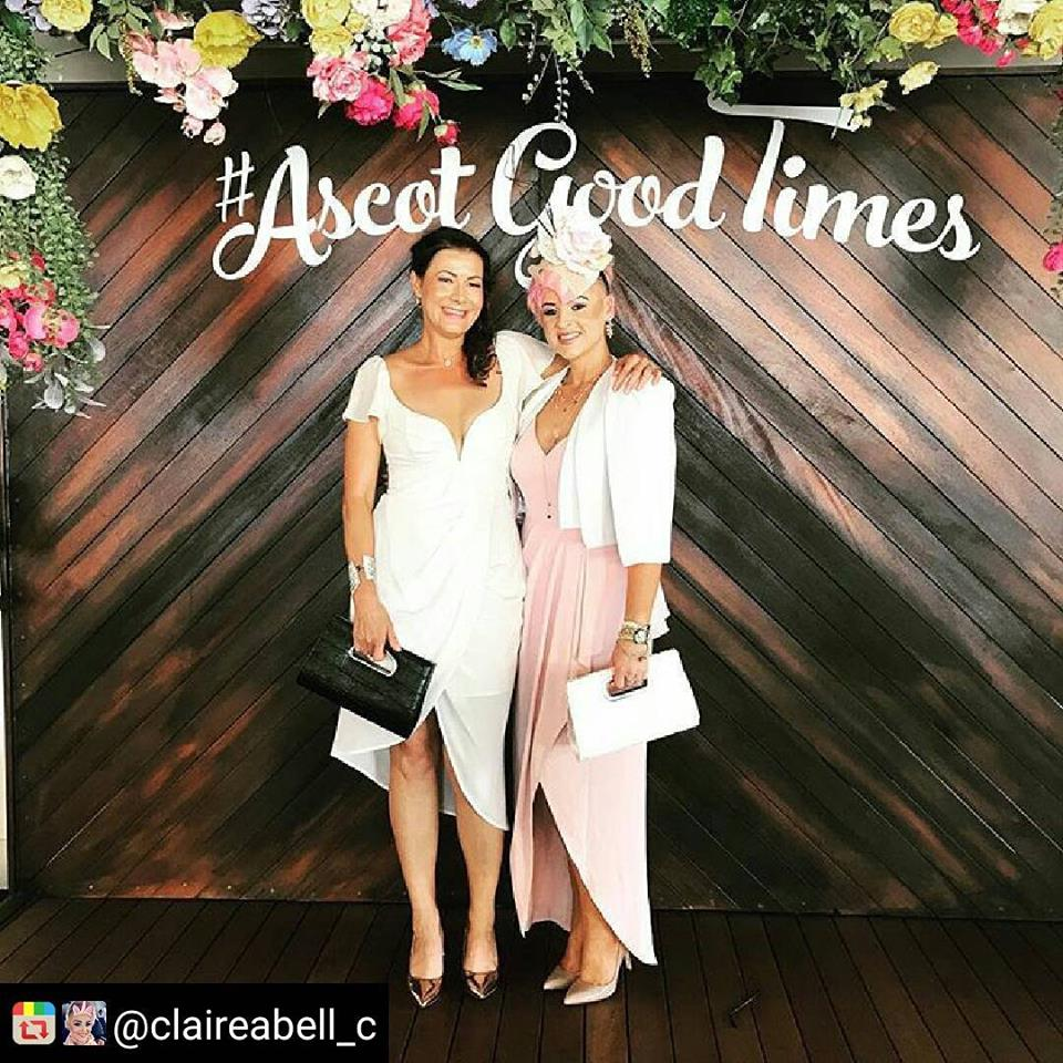 The always stunning Claire in our white Caufield Cape at Ascot races