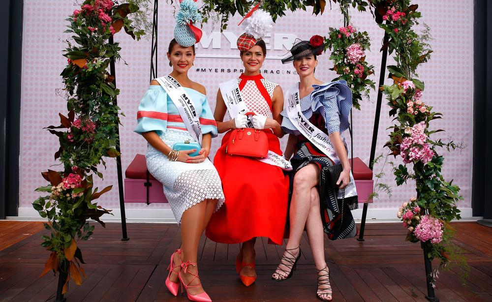 Myer Fashions on the Field women's racewear competition winner Olivia Moor and runners-up Yvette Hardy and Charlotte Moor pose on Emirates Melbourne Cup Day at Flemington Racecourse. Picture: Getty Images
