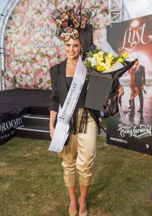 Hardy Brothers Doomben Cup Day Fashions on the Field Winner Rebekah Wall in her unique outfit