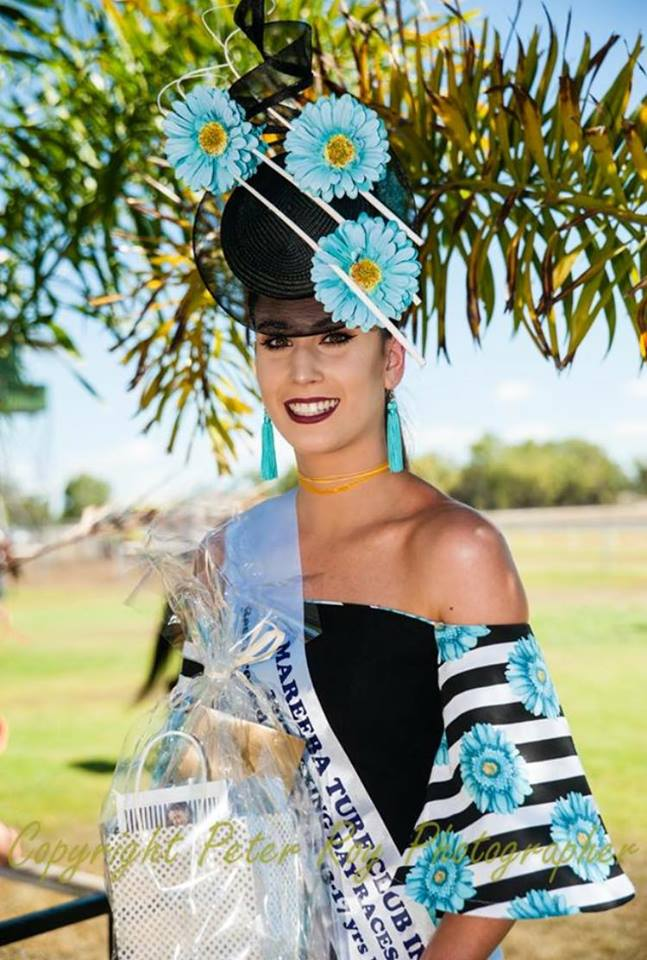 Beautiful Rowena taking home a sash at the Mareeba Boxing Day Races on the weekend .. amazing outfit made by her very talented mum