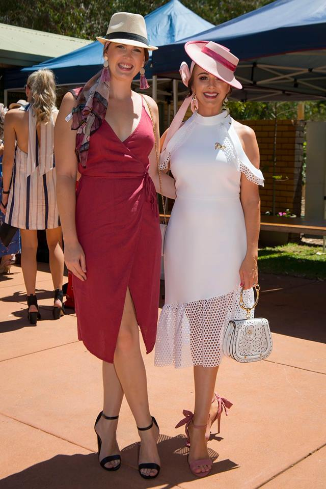 Luka and I arriving at Pinjara races. I'm wearing Holly Barker Millinery (amazing), BDA accessories, Witchery dress and boohoo heels.