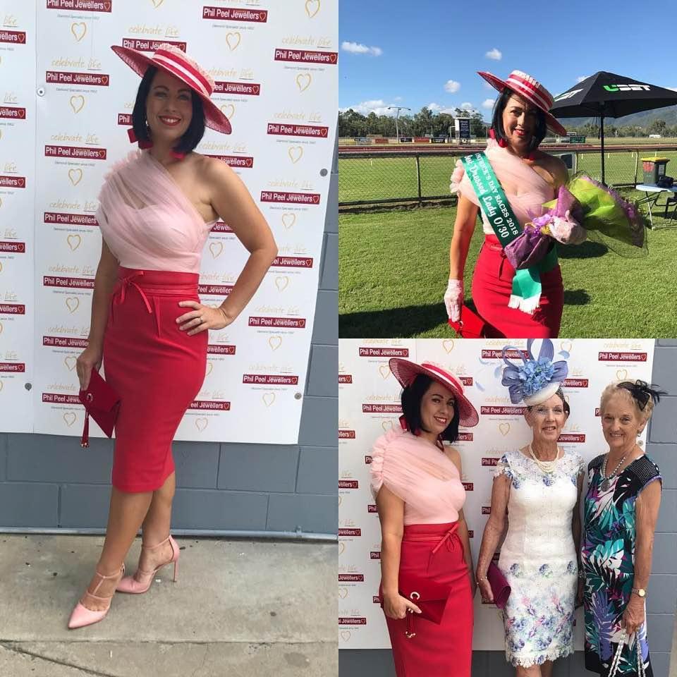 Bridget Newman Best Dressed Winner St Patricks day 2018 wearing BDA ruffle shoulder top, Red Reel Him in Belt and pink lace gloves