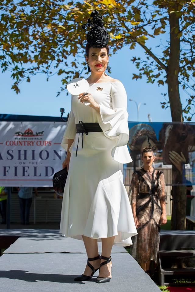 The ever gorgeous Laura Clipperton in our Reel him in belt and running free brooch at Bunbury Races 2018
