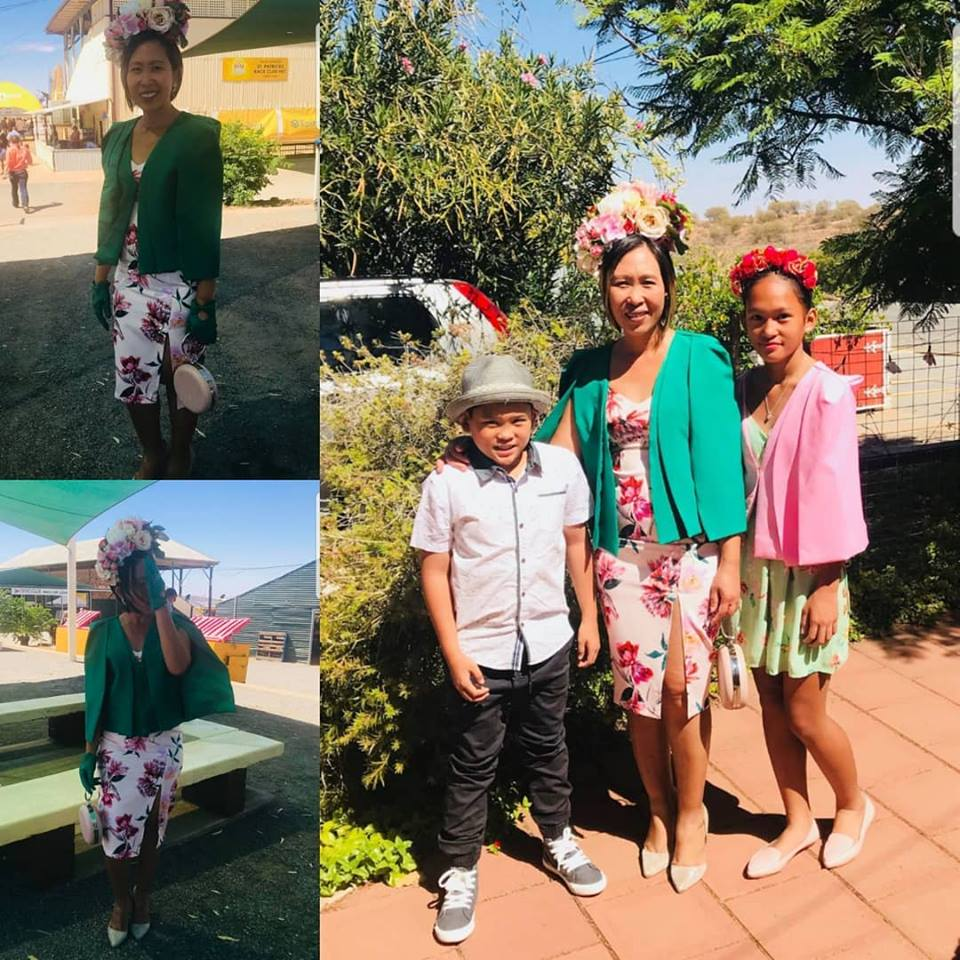 My gorgeous client Bobe asked for a custom green cape for herself and a pink one for her teenage daughter. Bobe is also wearing BDA gloves & bag. Her daughter wears one of our garlands. I also organised her millinery from the talented My Three Stems. Well done Bobe you look stunning.