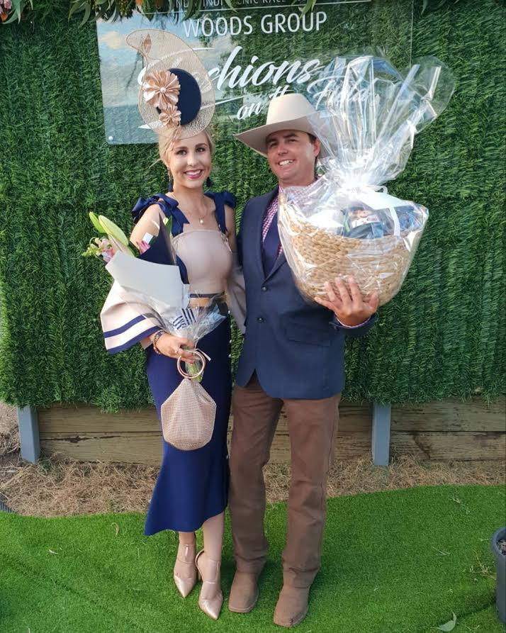 Shannyn Hopkins in her Nautical Belle dress won Best Dressed Couple with her partner Mark at Goondiwindi Races
