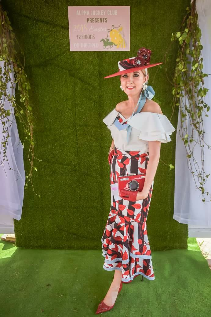 Jen Marsh looking magnifique and winning twice in off the shoulder outfits. Photo credit: Alpha Jockey Club Inc.