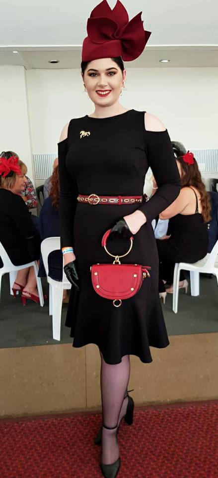 WOW Georgia De Feudis looked AMAZING and came runner up in this sensational outfit. In BDA black half palms, red classic ring bag and running free brooch