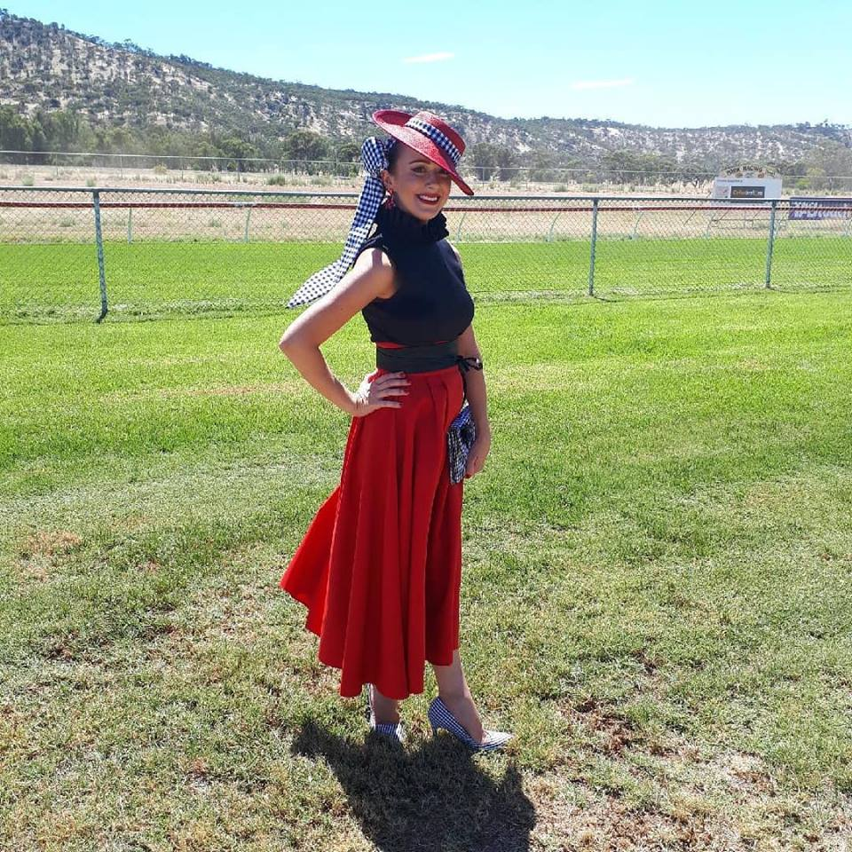On a hot start to Autumn I combined a custom made Fyne Fit skirt with a off the rack Only One Ashley top with custom made Holly Barker Millinery