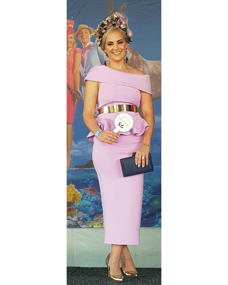 Courtney Gonano looking sensational in this Best Dressed Accessories lilac two piece ladies outfit in September 2018