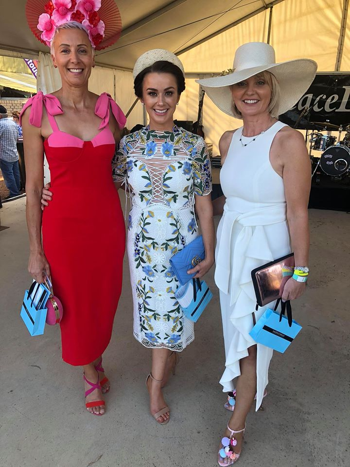Vernice Fashions on the Field winners: L-R: 2nd Place Jo Hill, 1st Place Bethany Brajkovich and Best Accessory Deb Diamaritis