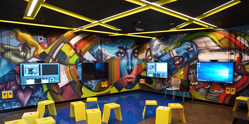 CURTIN UNIVERSITY - CUSTOM INTERIOR AEROSOL ARTWORK CREATED FOR THE MEDIA EXHIBITION WALL IN THE LATEST B410 BUILDING