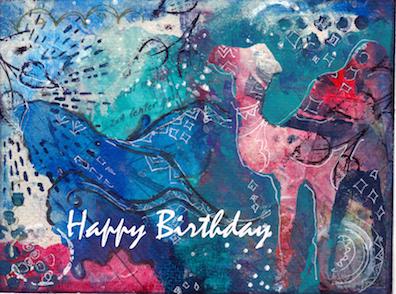 Colorful Camel Happy Birthday Card