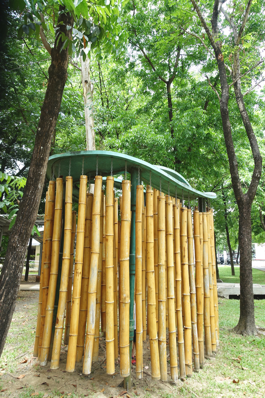 - This bamboo installation was fun to hide and make music in.