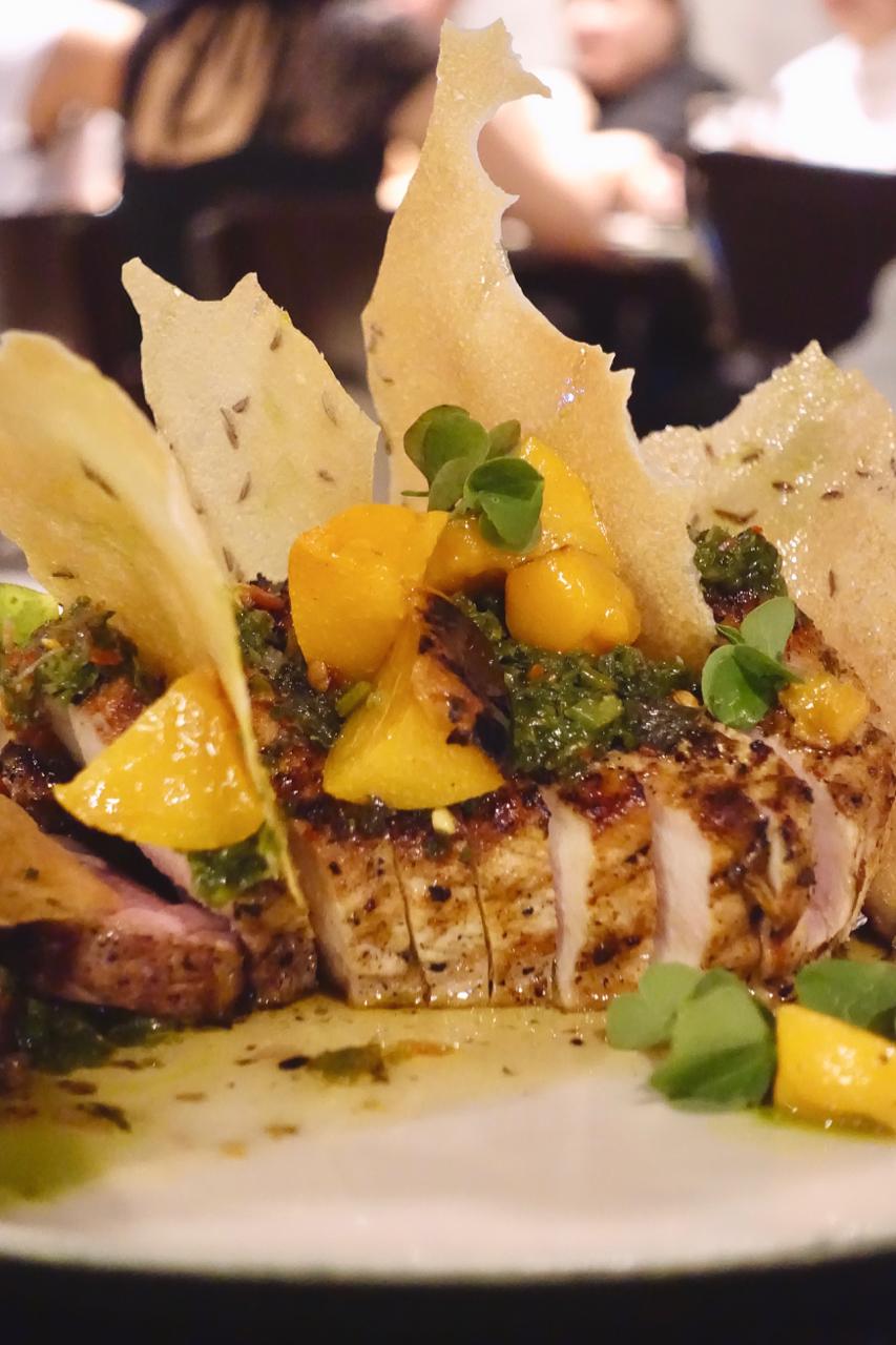 - King Edward Pork chop with mustard leaf chimichurri