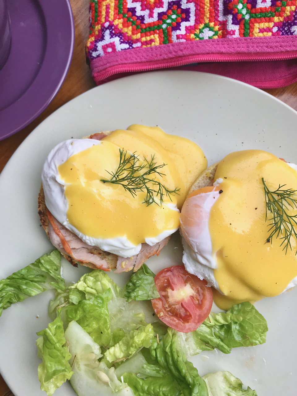- Eggs Benedict for one.