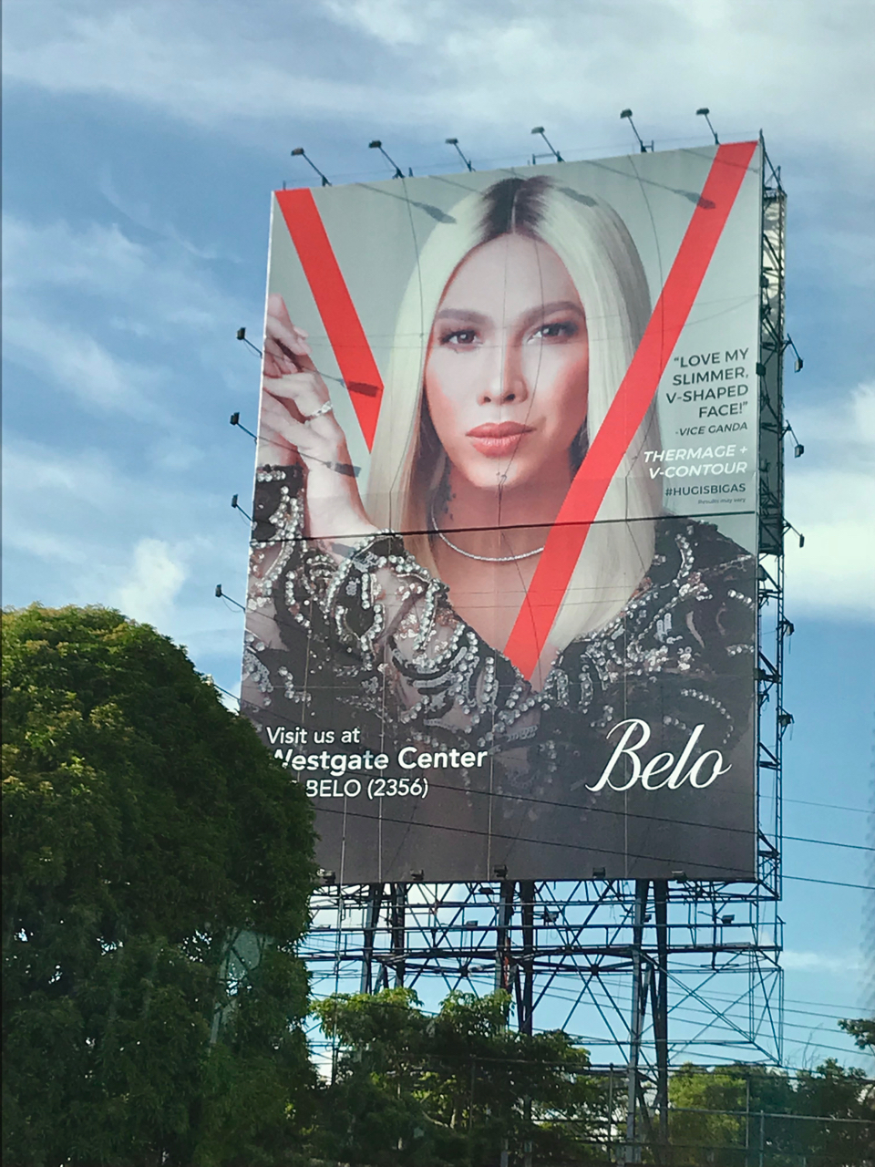 - While driving along the SLEX I noticed Belo's new campaign, Vice Ganda. Sobra ganda at galing for inclusion!