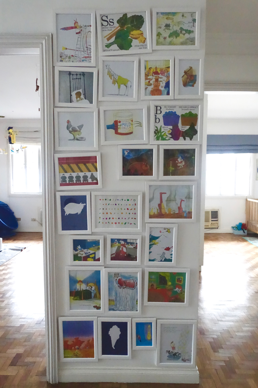 A WALL OF BOOK ART - I will absolutely be framing some of the art work from this book for our wall of favorite children's book art.