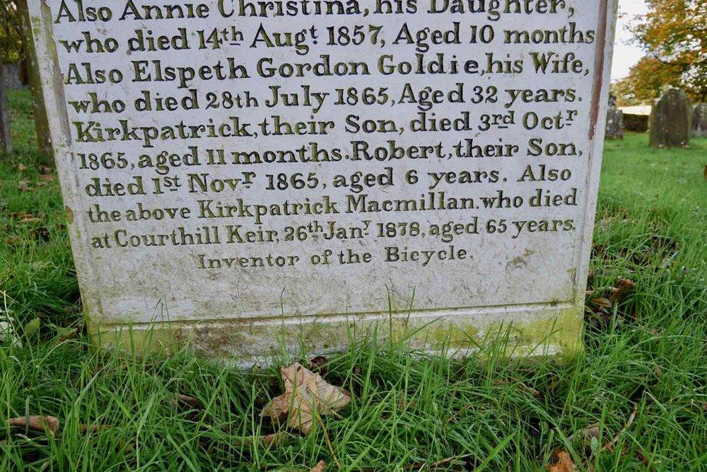 Grave stone to Kirkpatrick Macmillan & family