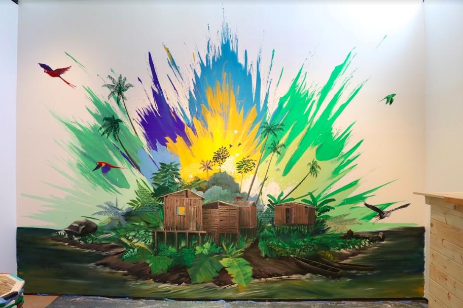 """Pacifican Refuge"" Felipe Ortiz, 2018.  Fuller Craft Museum, Brockton, MA. 30ft x 30ft, acrylic paint."