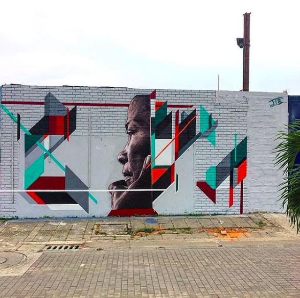 """""""Doña Mercedes"""" Ivan Salazar, 2018.  30x18 feet, spray paint and mixed media."""