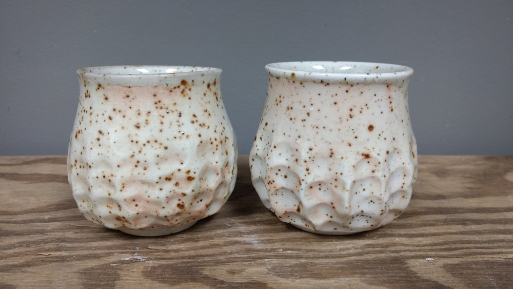 Pinched Cups $28 ea.   Wood fired speckled sand porcelain 8 oz.