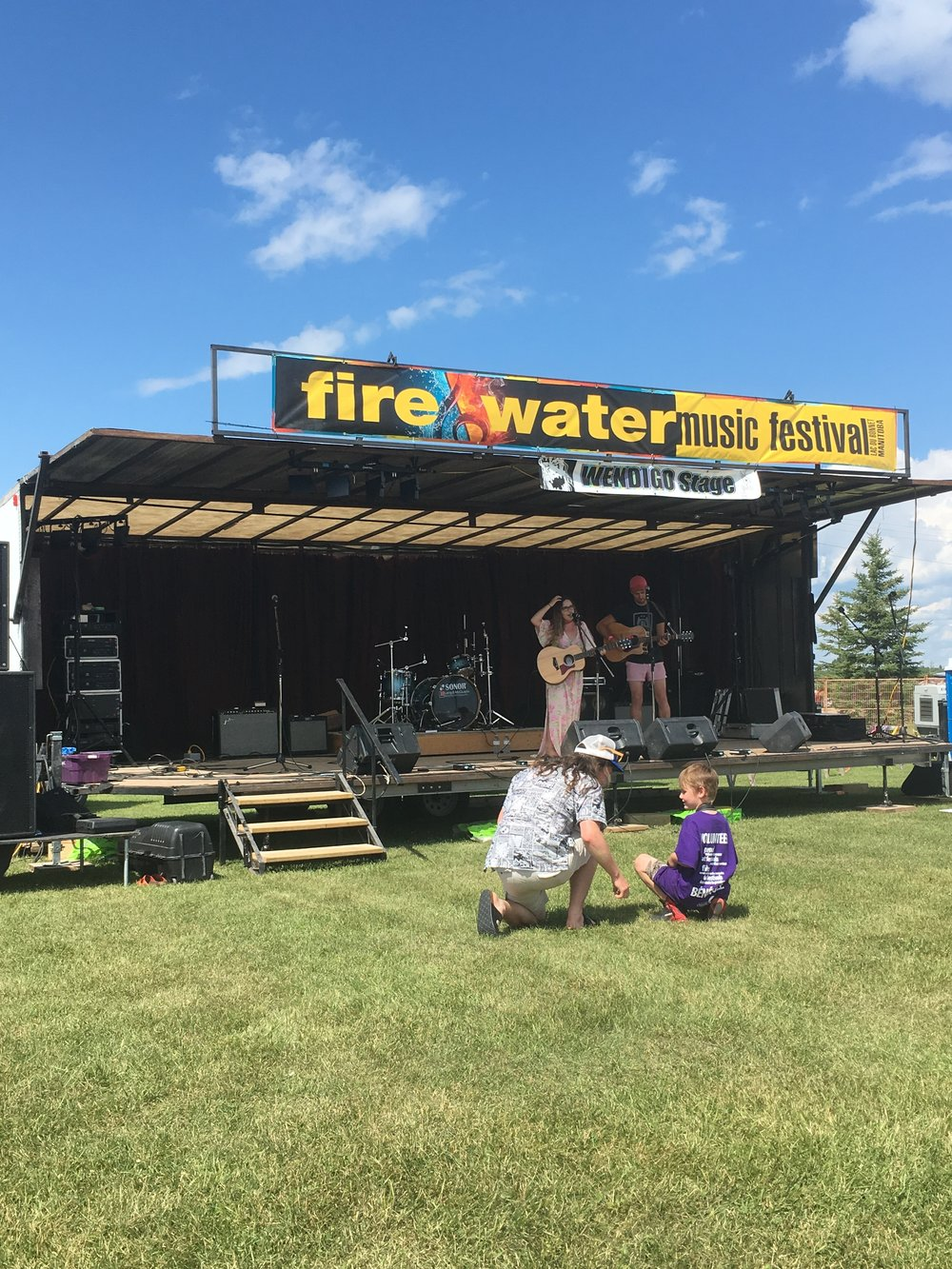 52. - I performed at two festivals this year - The Fire & Water Music Festival in Manitoba and The Living Roots Music Festival in New Brunswick. Here is a photo of us sound-checking at Fire & Water.