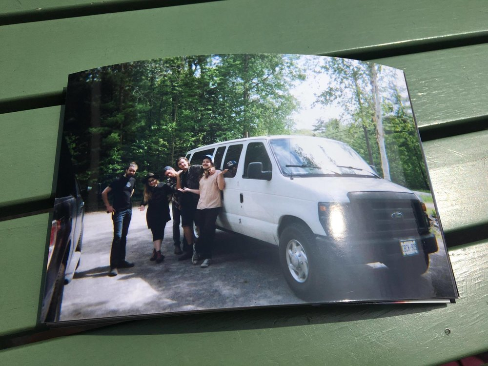 88. - For my birthday, Nick bought me a disposable camera to take tour pics.Here is a photo we took at Collin's dad's house the morning after show #48 in Renfrew, ON.