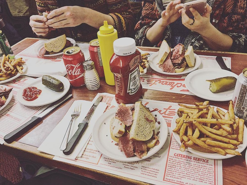 96. - We were driving to Montreal the next day and I was super sad to have lost my brand new laptop- so we got consolation sandwiches at Schwartz's (Celine Dion's famous smoked meat restaurant).Later my credit card company reimbursed me for a new laptop so not all was lost.