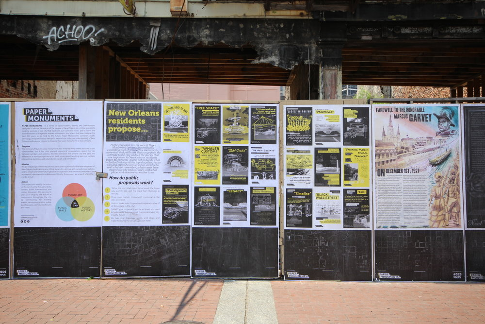 Public proposal panels and PMEV#023 Farewell to Marcus Garvey installed at the Canal Street site.