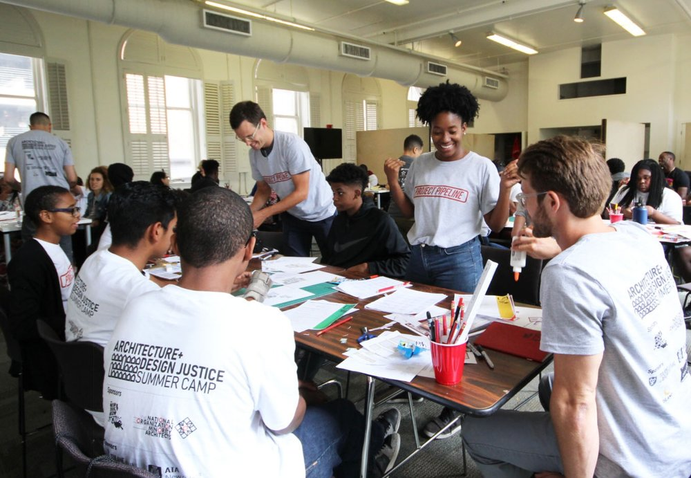 Project Pipeline mentors John, Taylor and John work with campers on a community-engaged design process at the 2018 NOMA Louisiana Architecture+Design Justice Project Pipeline Summer Camp.