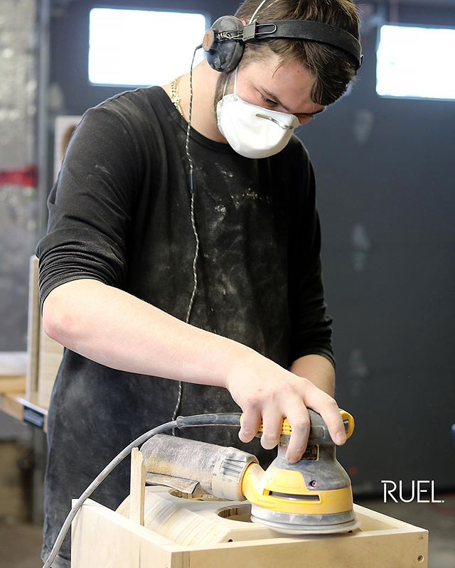 Leo, focused on the sanding of the RUEL R+. www.ruelaudio.com  #ruel #ruelaudio #ruelfamily #familybusiness #breaktherule