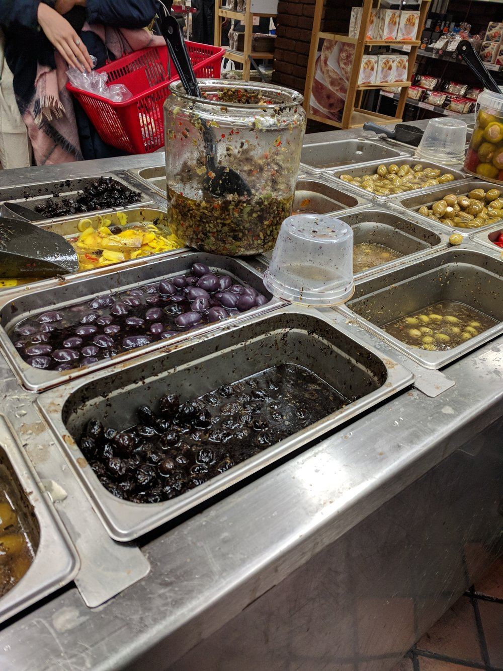 Olive bar, Sahadi's – a fave stop in downtown Brooklyn for spices
