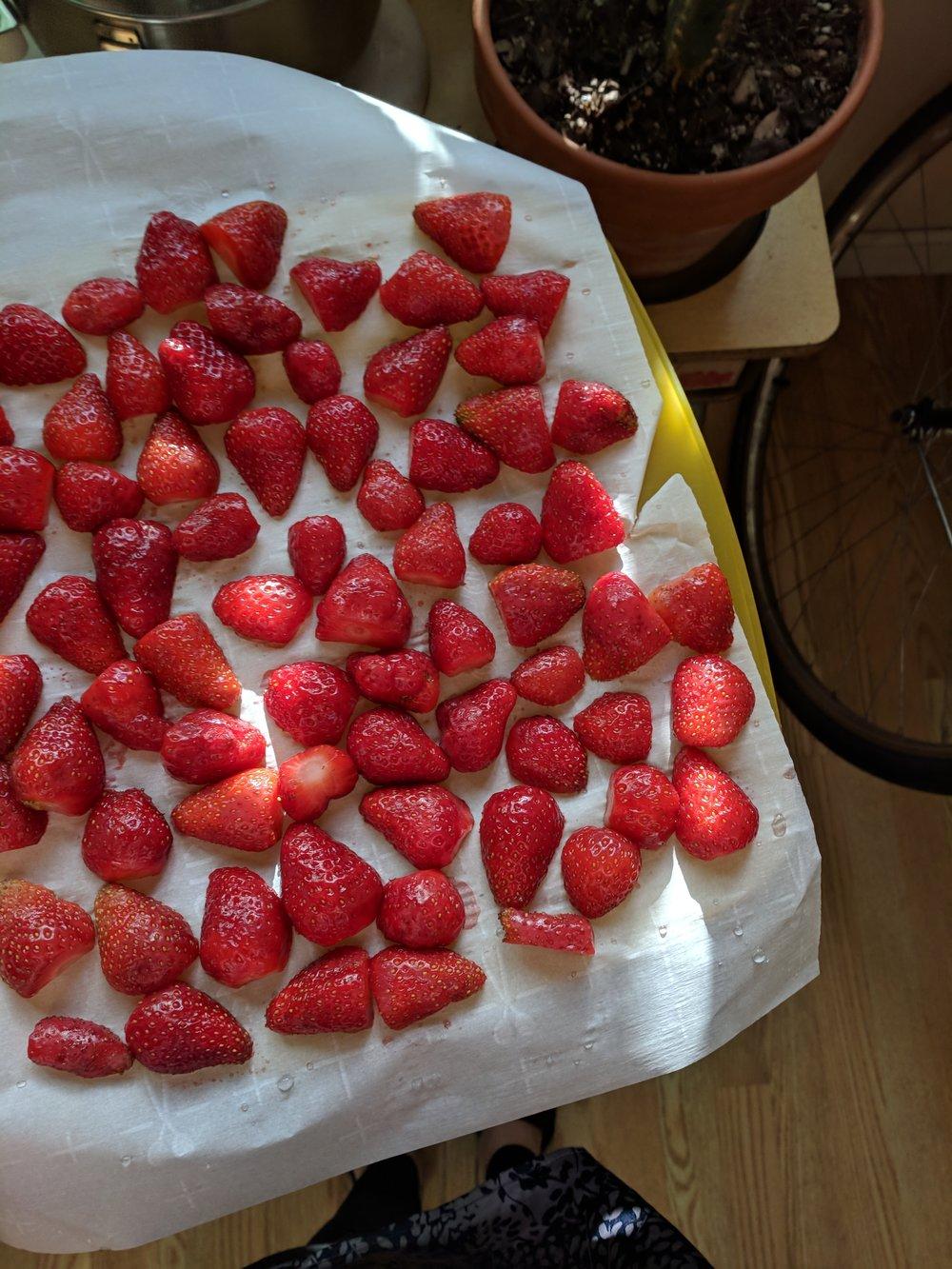 Halved berries heading into the freezer