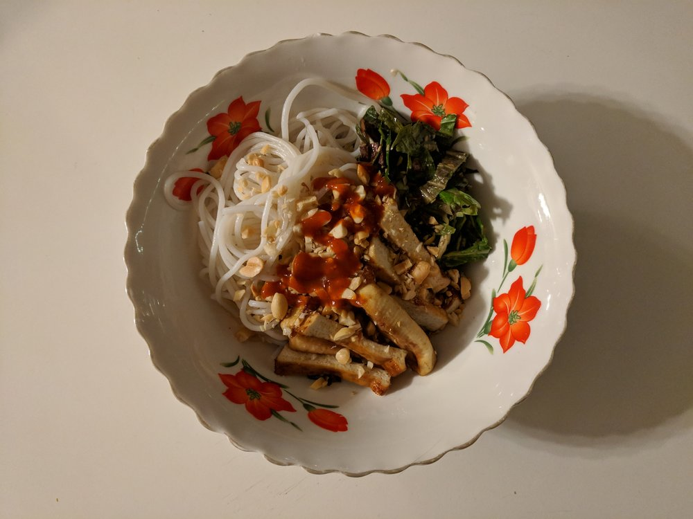 hoisin baked tofu, rice noodles, citrus miso slaw