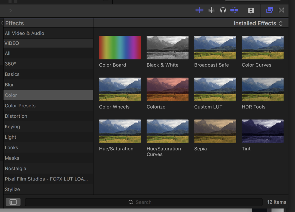 Go to EFFECTS - COLOR and use CUSTOM LUT
