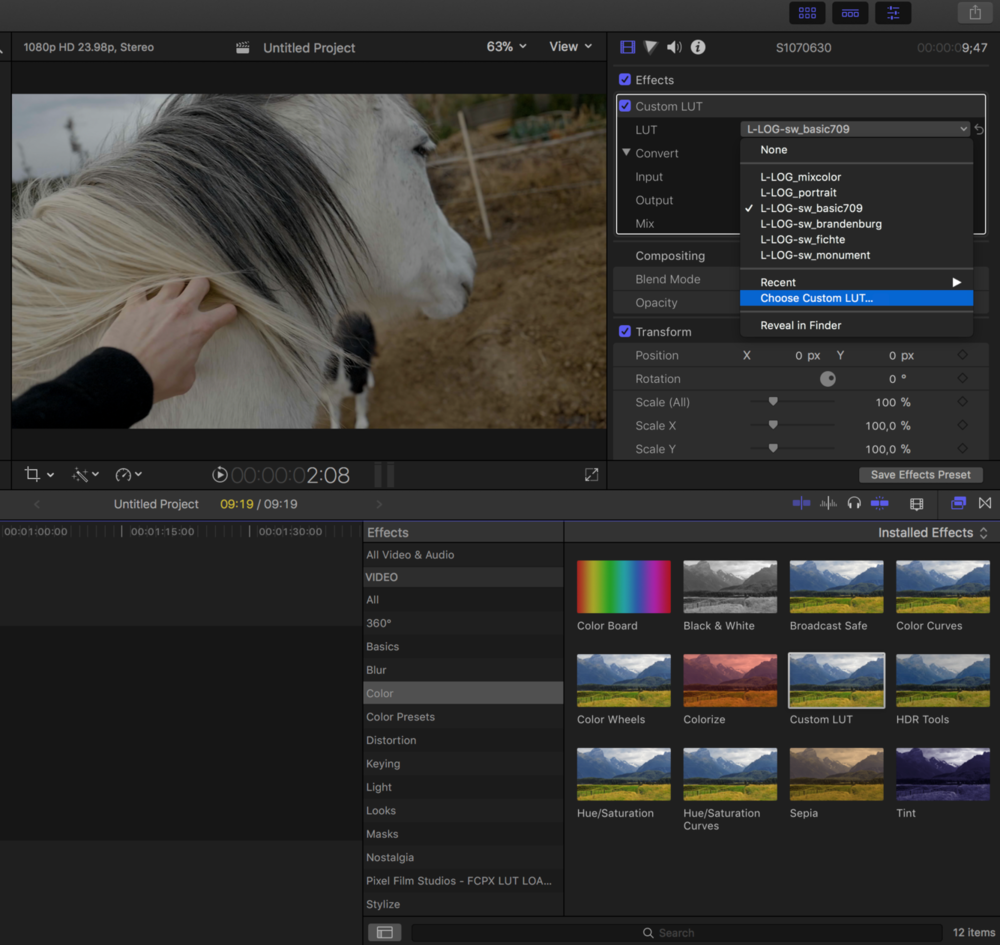 Choose Custom LUT to browse for your purchased files. Use the Mix slider to adjust the itensity.