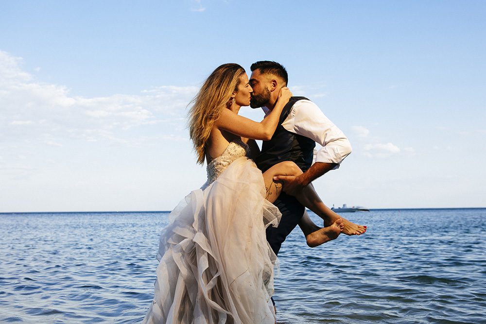 couple trash the dress