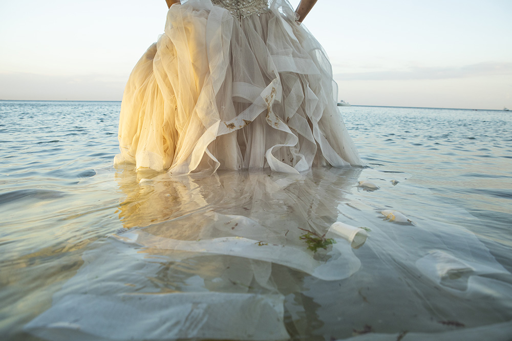 bride dress in the water