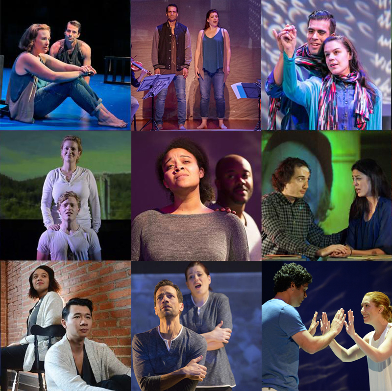 Various productions of  As One .   Top row: the original American Opera Projects' production at the Brooklyn Academy of Music, Caine College of the Arts, UrbanArias Middle row: West Edge Opera, Seattle Opera, International Opera Projects (Berlin)  Bottom row: Pittsburgh Opera, Opera Colorado, Long Beach Opera