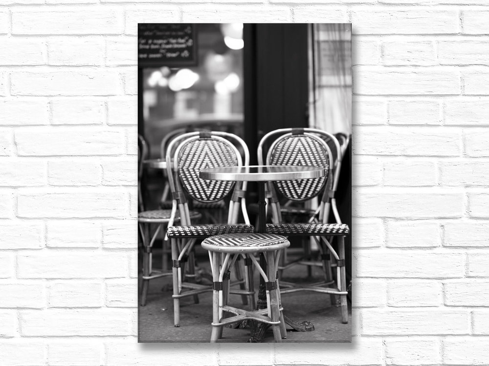 The Cafe Chairs, Black And White, Canvas