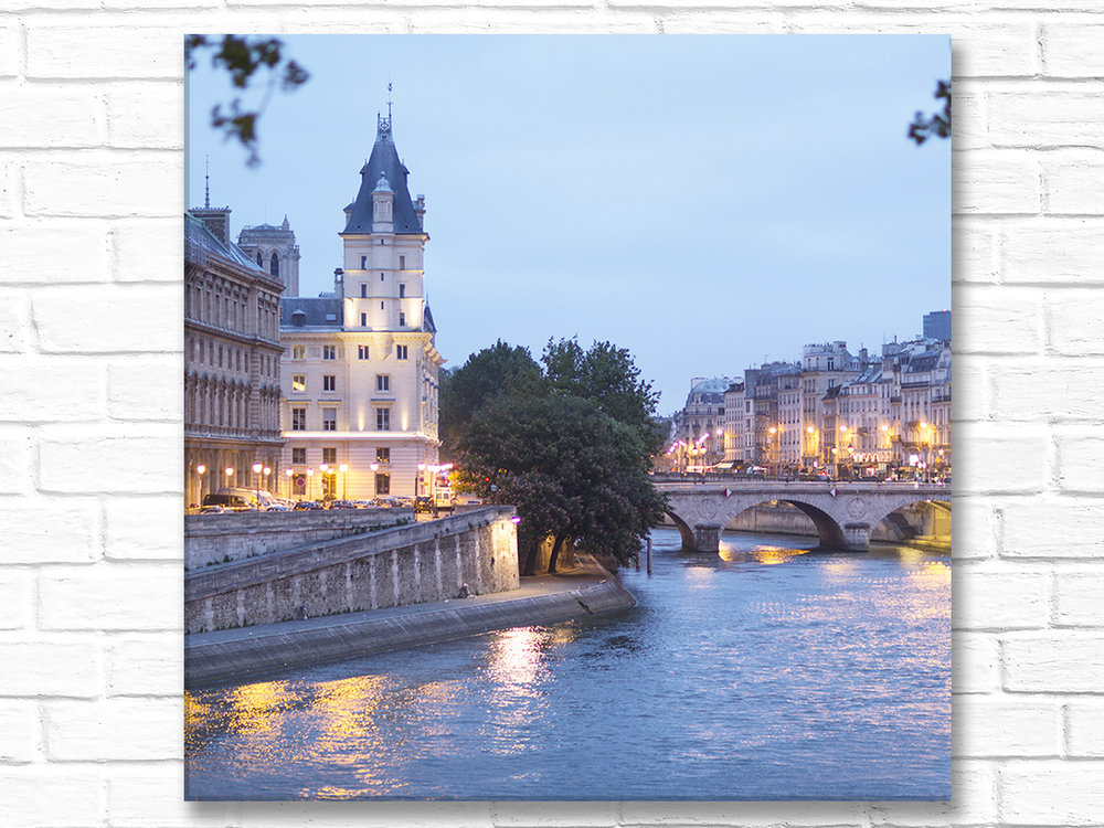 Paris France Home Decor Wall Art Île de la Cité with lights