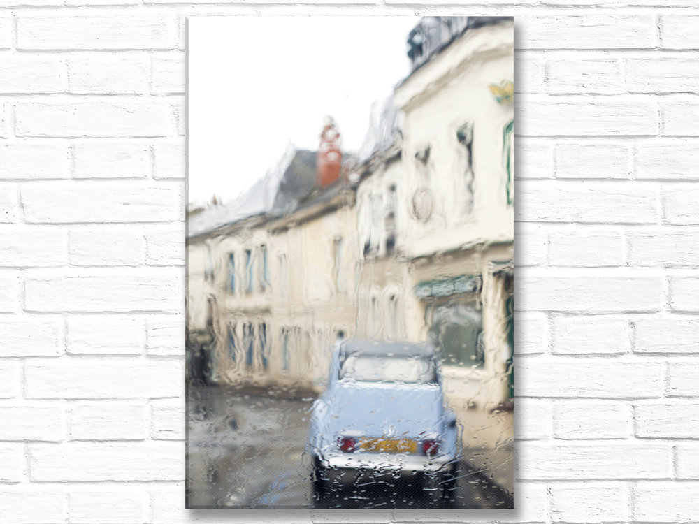 France Home Decor Canvas Wall Art, Vintage Citroen in the Rain