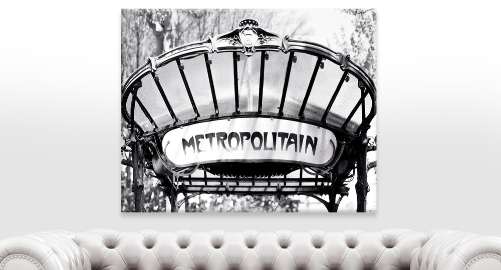 Paris Abbesses Metro Sign Black and White Wall Art