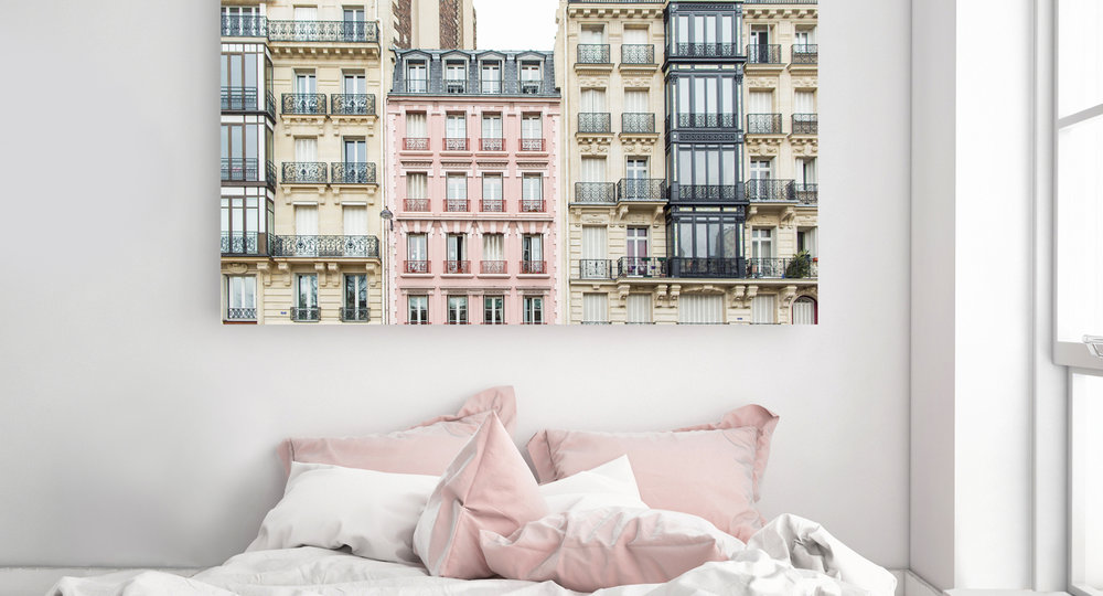 Paris Pink Apartment Building Home Decor
