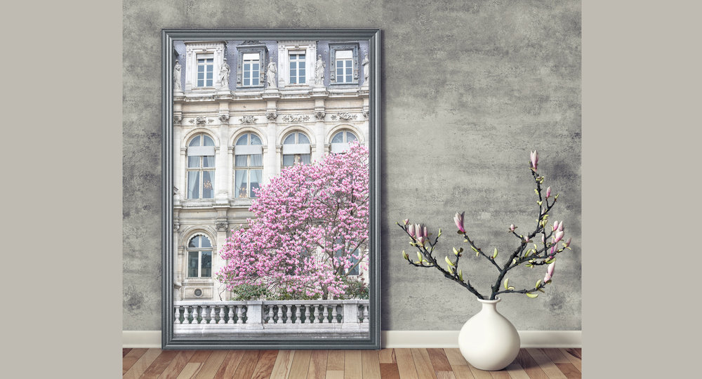 Paris Hotel de Ville and Magnolia Tree